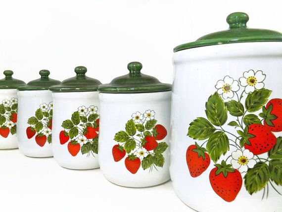 Vintage Mccoy Strawberry Kitchen Canister Set Retro Canister Set