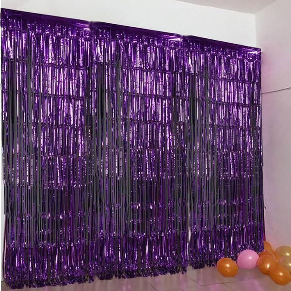 24 Sq Ft Purple Metallic Foil Shimmer Fringe Curtain Photo Party