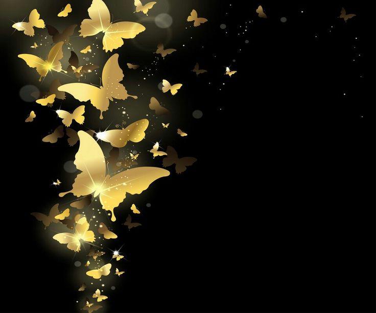 Gold Butterflies w/ Black Background   Butterfly wallpaper ...