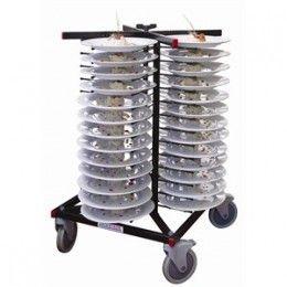 Torres emplatadoras fabricadas en acero soldado con acabado pulverizado electroestático. Se ajusta a cualquier tamaño de plato. Capacidad para 52 platos con huecos  de 50 mm. entre los soportes.