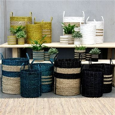New Merricks and Flinders stripped baskets from Satara available in a variety of colors and sizes. #home #design #storage #baskets #ReedGiftFairs