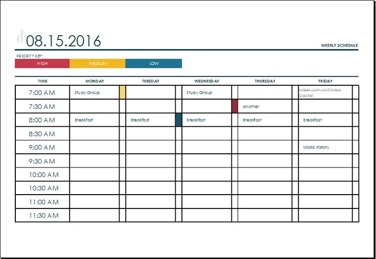 weekly college schedule template at xltemplatesorg Microsoft - shift schedule template