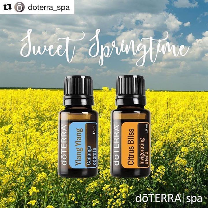 #Repost @doterra_spa  We are so excited to be out of winter and into spring! Embrace the season with this sweet diffuser blend of Ylang Ylang and Citrus Bliss. Diffuse this blend at home or in the office to help get brightened up for spring!