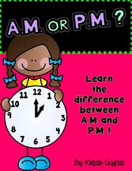 These are some practice sheets to help students understand the difference between am and pm when telling time.-AM or PM (Decide if done in the am/pm)-What do you do? (Tell the time, draw a picture of something you do at that time)-What do you do? (Draw a picture or write a list of things you do in the am/pm)-My Schedule (Create your ideal schedule)-My Schedule (Activity is listed, students must give the time and decide if it is am/pm)-True or False (Decide if the time given with am/pm is…