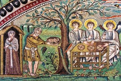 Fragment of the mosaic with Abraham and Sarah at the Oak of Mamre (basilica of San Vitale in Ravenna, Italy).