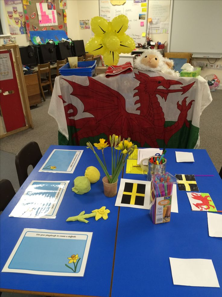 Playdough daffodils and Welsh flags