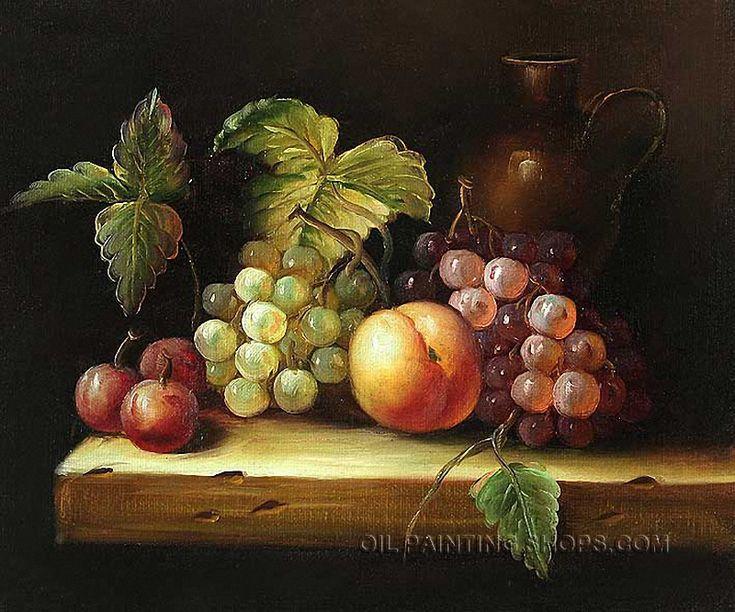 "Beautiful Reproduction Art Still Life Fruit Painting Grape Peach, Size: 36"" x 24"", $116. Url: http://www.oilpaintingshops.com/beautiful-reproduction-art-still-life-fruit-painting-grape-peach-0242.html"