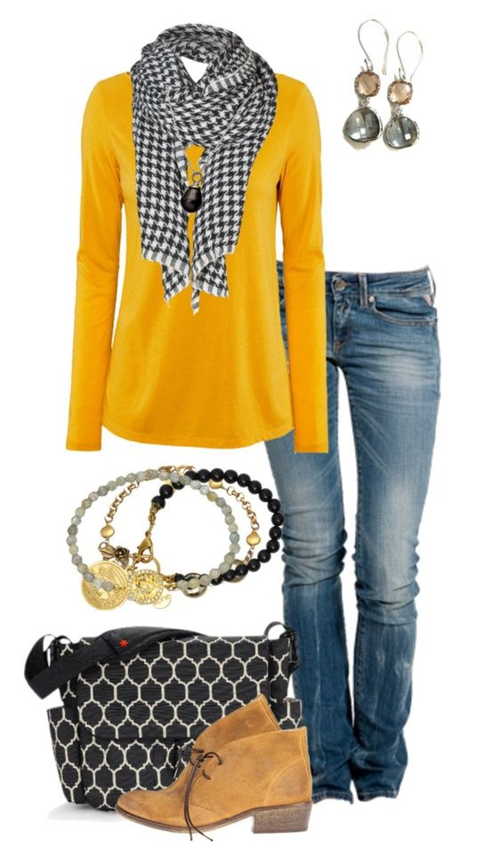 Great colors - pick up a few statement pieces like the bright sweater and gold shoes
