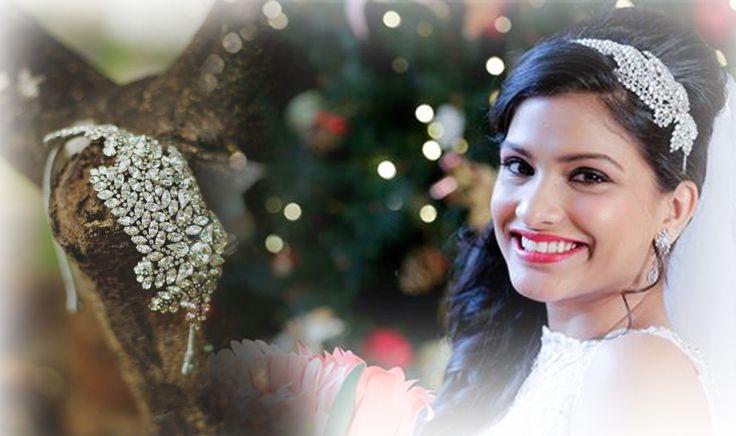 """Karleo bride Sheena looks radiant in our fern headband."" #Karleo #karleoFashion #karleoBridal #accessories"