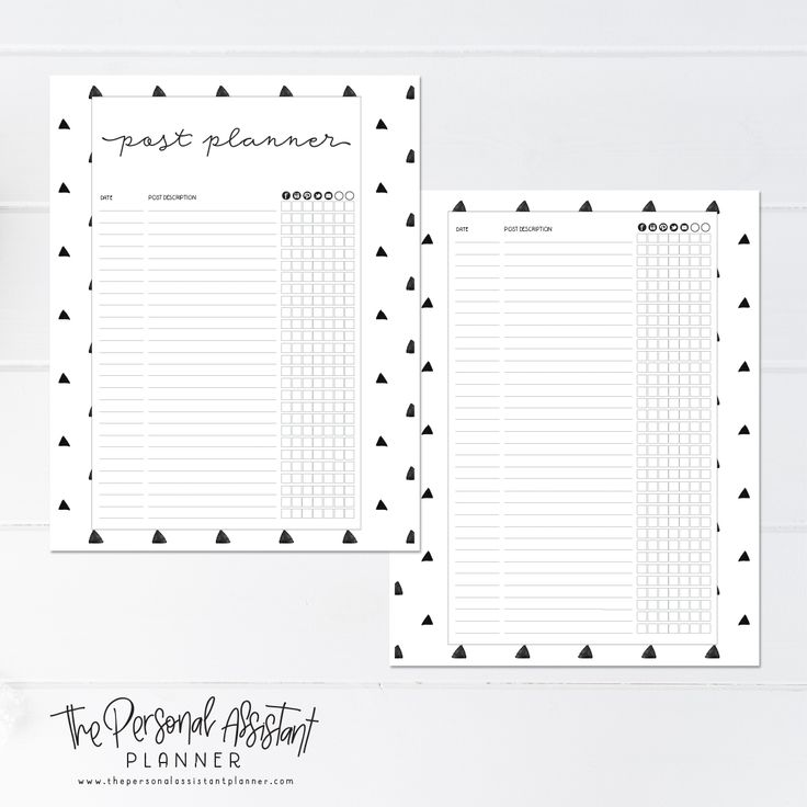 8.5x11 Social Media Post Planner Printable Business Planner Insert Pages - The Personal Assistant Business Planner