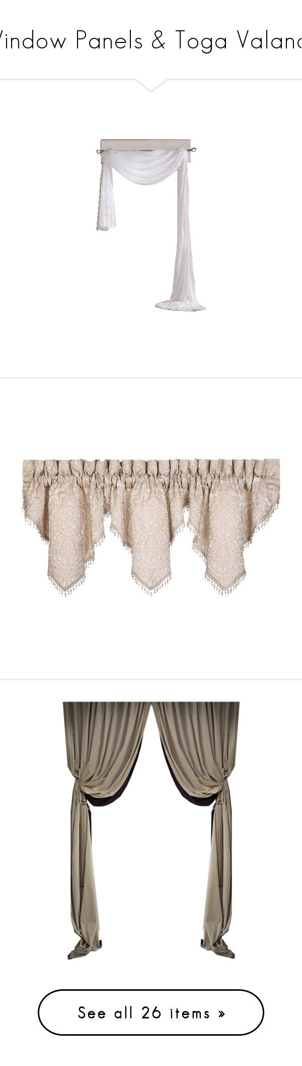 """""""Window Panels & Toga Valance"""" by suelb ❤ liked on Polyvore featuring curtains, windows, drapes, valance, home, home decor, window treatments, sand, beaded valance and window panels"""