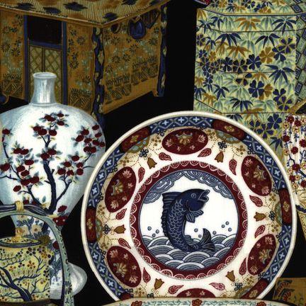 Robert Kaufman Fabrics: EV-2763-4 BLACK from Oriental Traditions Original Collection