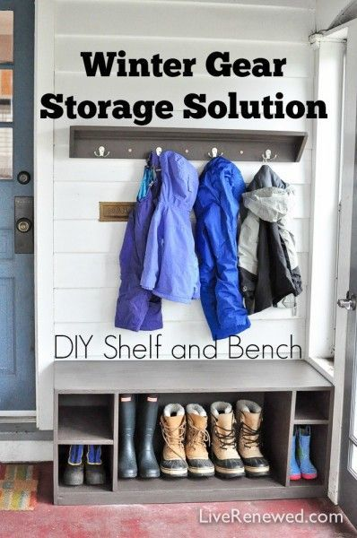 Are you dreading winter and the onslaught of winter gear that comes along with it? Wondering where you are going to keep all of that stuff? Check out this Winter Gear Storage Solution: Simple DIY Shelf & Bench #ad