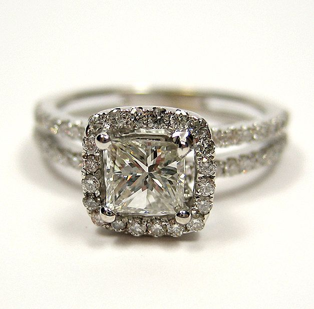 1.20ct Antique Vintage Style Square PRINCESS Diamond ENGAGEMENT Wedding Anniversary RING With Pave Halo. $2,075.00, via Etsy.