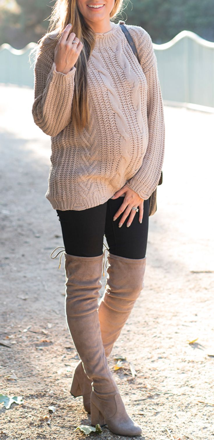 I'm wearing: Dreamers by Debut Cable Knit Sweater, Madewell Maternity Skinny Jeans, and Steve Madden Norri Boots // Angela Lanter