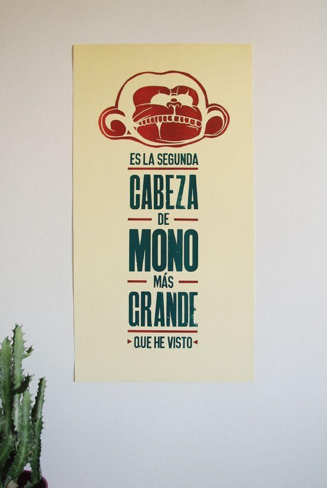 """Cabeza de Mono by Nacho Lambertini  """"Es la segunda cabeza de mono más grande que he visto""""  - Guybrush Threepwood, un gran pirata  Homenaje a la gran saga de videojuegos Monkey Island. Composición con nuestros añejos tipos de madera y mono en linóleo grabado a mano.  Impreso manualmente en dos pasadas usando nuestra  prensa de pruebas de 1960 Korrex Berlin.  Tamaño: 65x34 cm  Papel: Cartulina crema 320"""