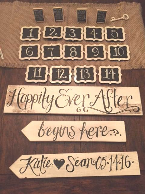 Hand painted table and sign decor for your special day