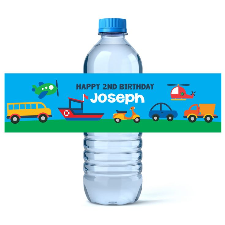 Transportation Birthday - Birthday Water Bottle Labels - Car Truck Birthday Water Bottle Label - Personalized Water Bottle  - Plane Party by iCustomWater on Etsy https://www.etsy.com/listing/196574570/transportation-birthday-birthday-water