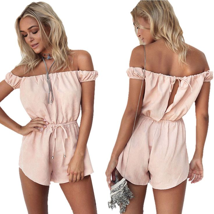 Sweet Summer rompers womens Playsuits High Waist Gorgeous multi straps Pink color Off Shoulder Shorts jumpsuits TONSEE