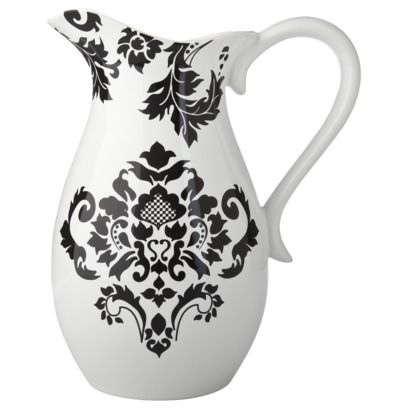 NEED! Black & White Damask Pitcher. $16.50 -Target