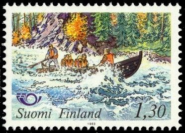 Postage stamp depicting Finnish rapids shooting.