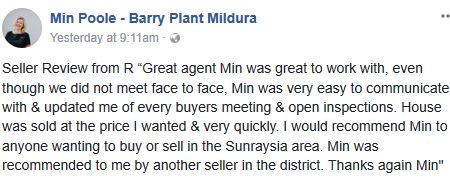 Looking to sell or buy in Sunraysia? Min's clients always share glowing recommendations. Take a look... #MinPoole #Mildura #RealEstateAgent
