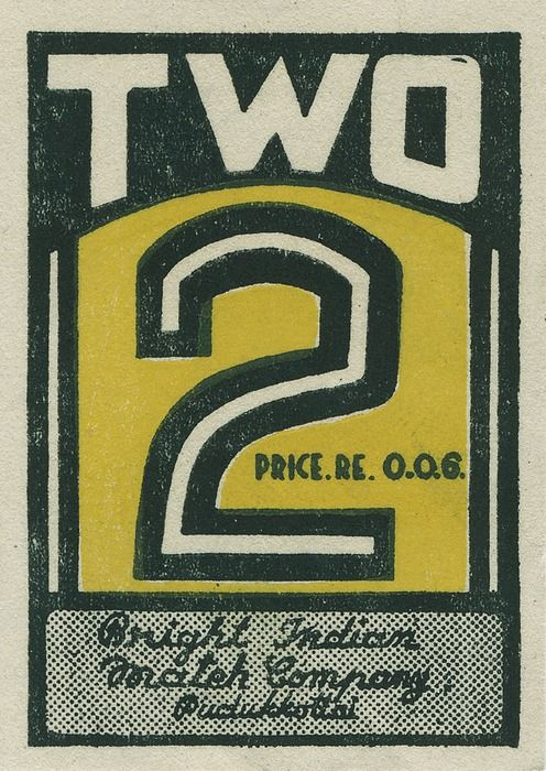 TWO  (Indian matchbox label)