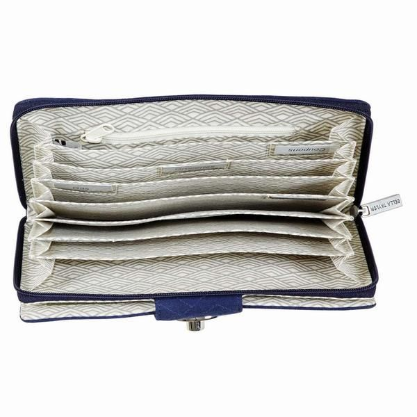 Following your budget has never been easier when you use this Navy Solid Cash System Wallet from the Quilt Shop. It has places to tell your money where to go!