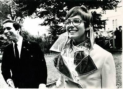 Marit Allen Vogue fashion journalist in 1966, wearing John Bates as her wedding outfit, <3