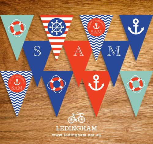 Nautical Party Bunting Flags (DIY Printables) on Etsy, $7.47