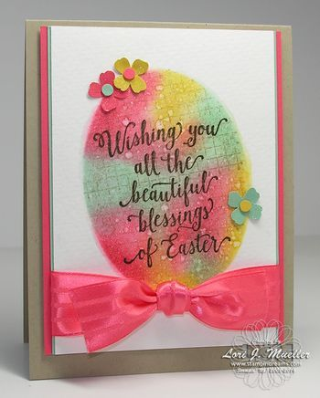 StampinDreams.com; Easter Blog Hop; Suite Sayings; Oval Framelits; Watermelon Stitched Satin Ribbon; Easter Card