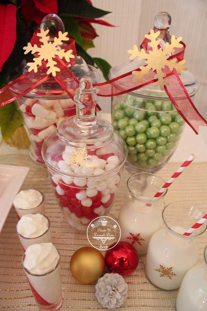 Themed sweets at a Christmas party! See more party planning ideas at CatchMyParty.com!