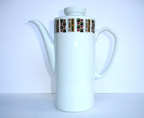 Wake Up and Smell the Coffee...  1940s Alfred Meakin Glo White Ironstone Coffee Pot by FillyGumbo, $50.00