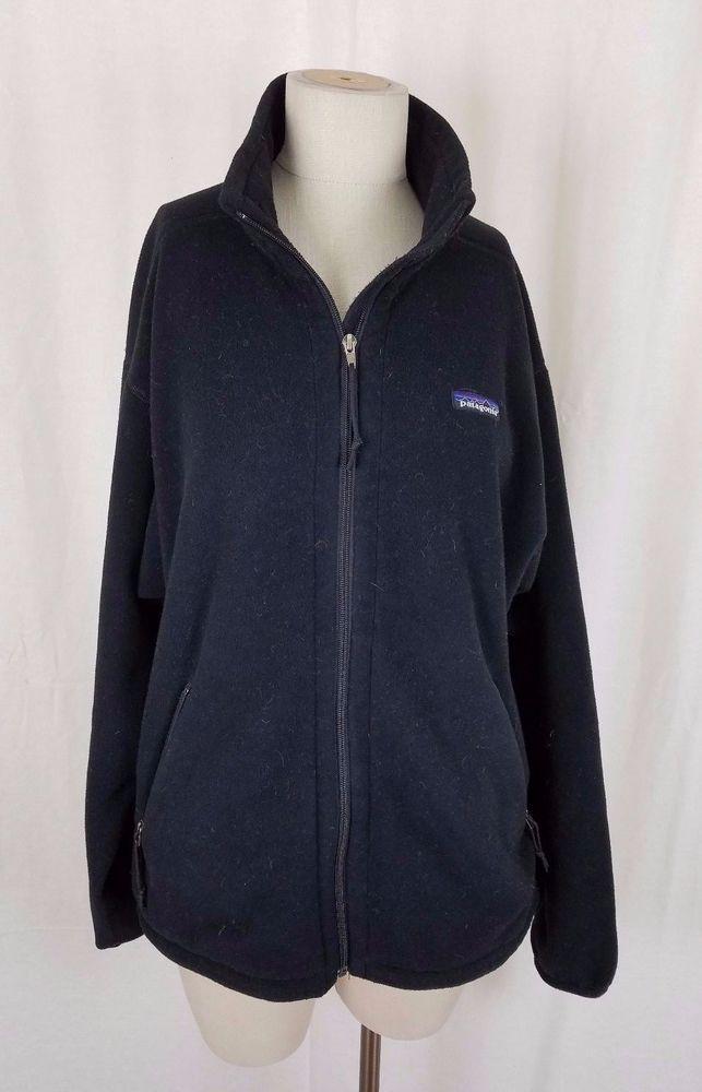 Vintage Patagonia Synchilla Full Zip Berber Fleece Sweater Jacket Mens M Black #Patagonia #FleeceJacket