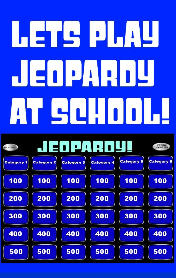 "This is an awesome way to review material with a class. This blank jeopardy template is simple to fill in and use. Once you have filled in your categories, questions, and answers just click ""begin slideshow from beginning"" and you are ready to roll. This template works great with both regular and smart-boards.  Features: - Fully customizable categories and questions. -Theme music at the beginning. -Applause button. -Double Jeopardy. -Final Jeopardy.  Your students will have a blast playing!"