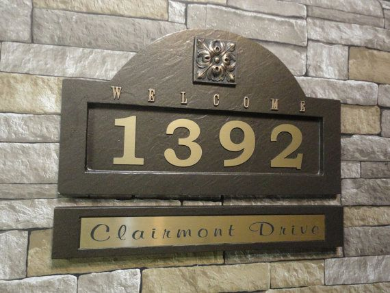 """Mediterranean / Tuscan  Inspired Address Plaque & Name Plate Set  House Numbers / Large 18 x 11"""" Customized Engraved Nameplate"""