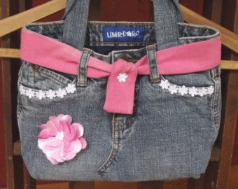 Little Girl's Pretty Jeans Purse/ Small Denim Tote Bag / Purse with Flower Trimmings