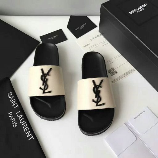 7e3fec053 YSL Summer 2017 Collection-Saint Laurent Joan 05 Slide Sandal in Off-white  Leather