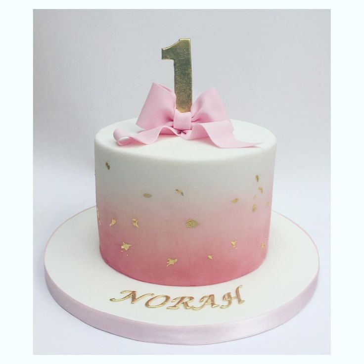 Simple And Beautiful Pink Fading Into White Coloured Icing With Bow