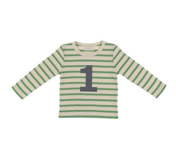 """T shirt cream & groene strepen """"1"""""""