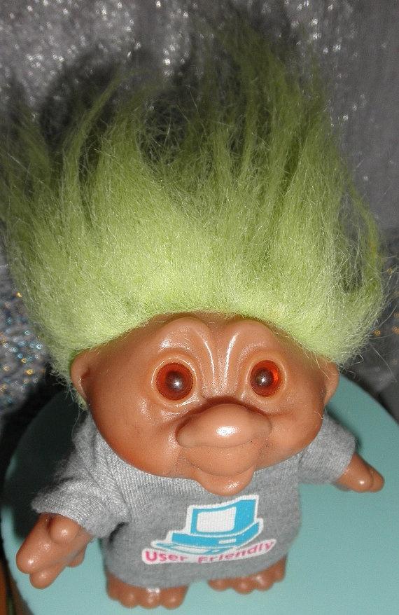 Vintage Dam Troll Doll Green Hair User Friendly By Rosiesstash 16 00 Triumphant Pinterest Dolls And