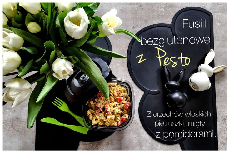 Corn fusilli pasta with homemade pesto with walnuts, parsley,fresh mint, honey, Pecorino...all enriched with aromatic tomatoes...fast,healthy and gluten-free.