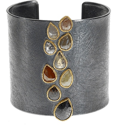 Todd Reed: statement cuff with pear-shaped rose-cut raw diamonds in various colors.