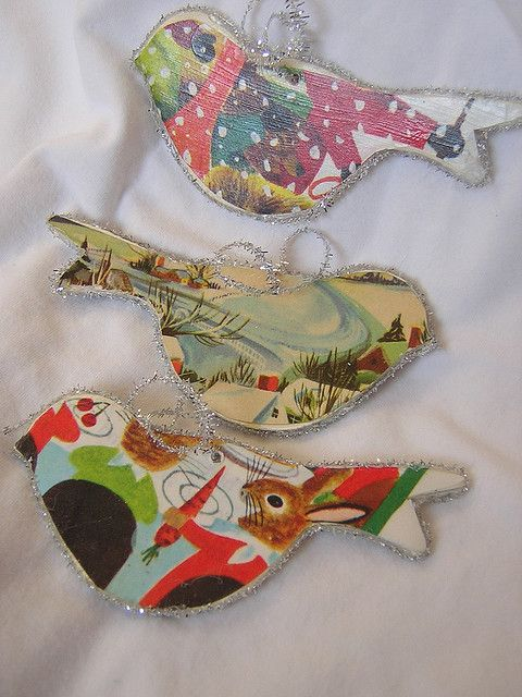 Bird ornaments - recycle old books or these look like old christmas cards.