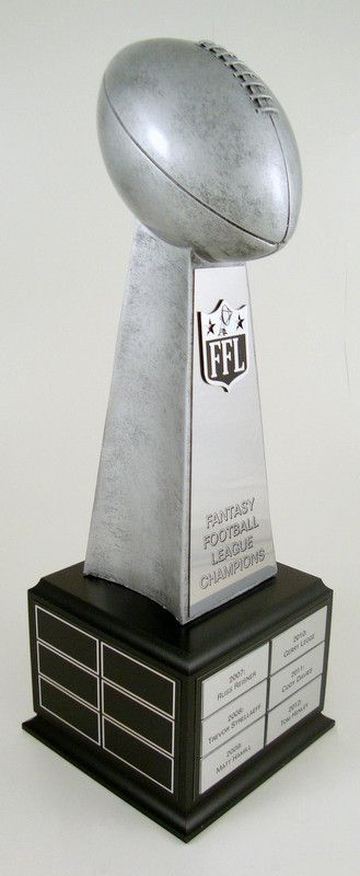 Fantasy Football Championship Perpetual Trophy on Black Wood Base