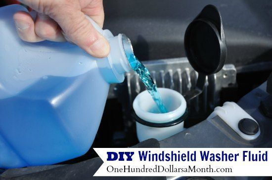 Homemade Windshield Washer Fluid A gallon sized jug {an old cleaned out distilled vinegar jug works great} 1 Gallon of Water 1 Tbsp. Dish Soap ½ Cup White Distilled Vinegar