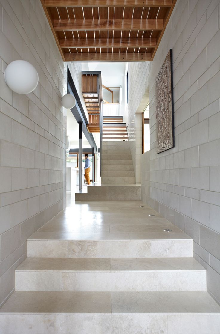 Adding industrial style to this home, concrete blocks are edgy without being grungy.