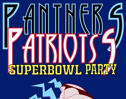 Panthers/Patriots Superbowl Party Flyer