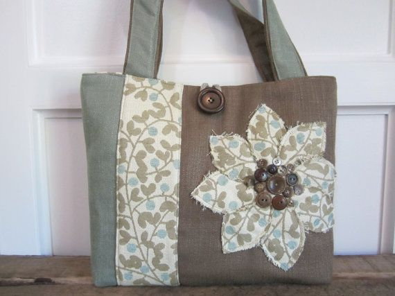 Brown Womens tote, Mint Green shoulder bag, Brown handbag, Large tote bag, Colored block lapto p bag, Handmade fabric handbag, Travel tote
