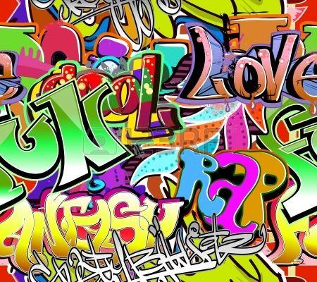 Mur de graffiti urbain art vecteur fond Seamless texture hip hop Banque d'images